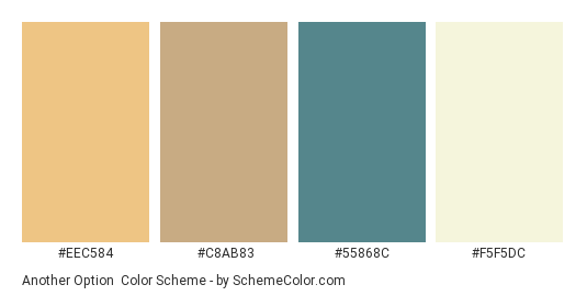 Another Option - Color scheme palette thumbnail - #eec584 #c8ab83 #55868c #F5F5DC