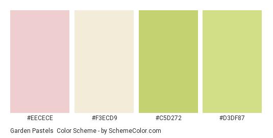 Garden Pastels - Color scheme palette thumbnail - #eecece #f3ecd9 #c5d272 #d3df87