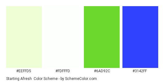 Starting Afresh - Color scheme palette thumbnail - #eeffd5 #fdfffd #6ad92c #3142ff
