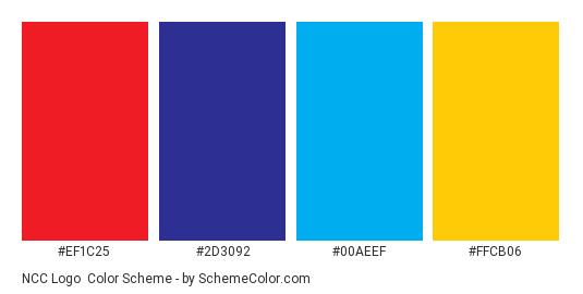 NCC Logo - Color scheme palette thumbnail - #ef1c25 #2d3092 #00aeef #ffcb06