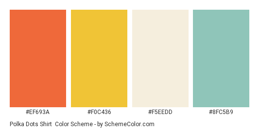 Polka Dots Shirt - Color scheme palette thumbnail - #ef693a #f0c436 #f5eedd #8fc5b9