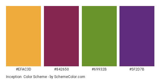 Inception - Color scheme palette thumbnail - #efac3d #842650 #69932b #5f2d7b