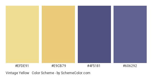 Vintage Yellow & Navy - Color scheme palette thumbnail - #efde91 #e9cb79 #4f5181 #606292