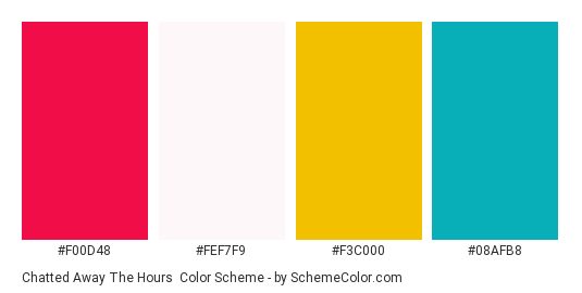 Chatted Away The Hours - Color scheme palette thumbnail - #f00d48 #fef7f9 #f3c000 #08afb8