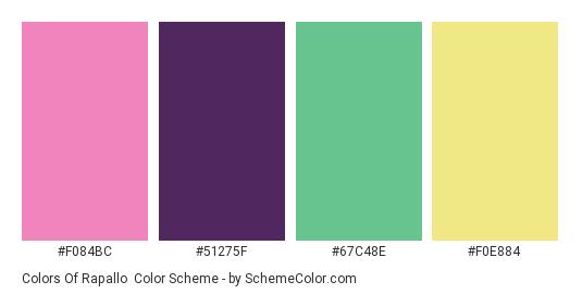 Colors of Rapallo - Color scheme palette thumbnail - #f084bc #51275f #67c48e #f0e884
