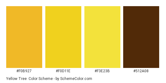 Yellow Tree - Color scheme palette thumbnail - #f0b927 #f0d11e #f3e23b #512a08