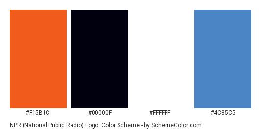NPR (National Public Radio) Logo - Color scheme palette thumbnail - #f15b1c #00000f #ffffff #4c85c5