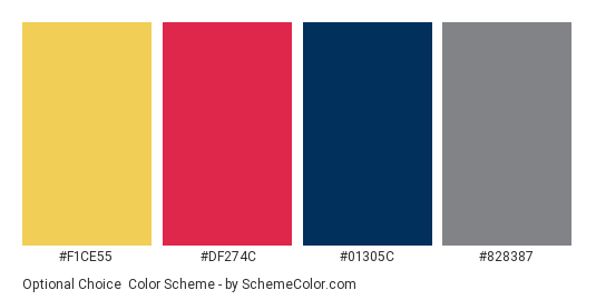 Optional Choice - Color scheme palette thumbnail - #f1ce55 #df274c #01305c #828387