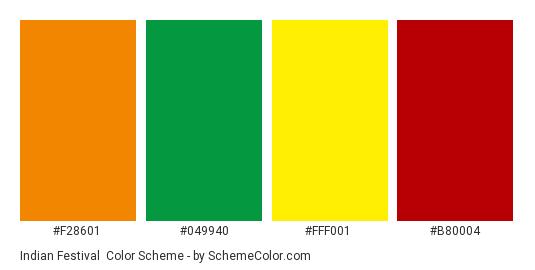 Indian Festival - Color scheme palette thumbnail - #f28601 #049940 #fff001 #b80004