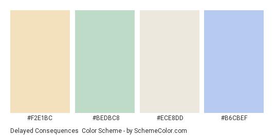 Delayed Consequences - Color scheme palette thumbnail - #f2e1bc #bedbc8 #ece8dd #b6cbef