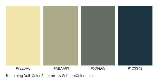 Becoming Dull - Color scheme palette thumbnail - #f2e5ac #abaa89 #636e65 #1c3342