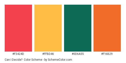 Can I Decide? - Color scheme palette thumbnail - #f3424d #ffbd46 #0d6a55 #f16b29