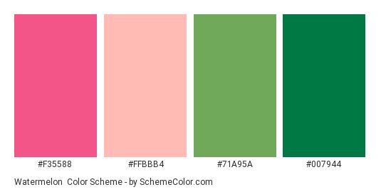 Watermelon - Color scheme palette thumbnail - #f35588 #ffbbb4 #71a95a #007944