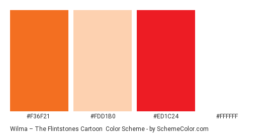 Wilma – The Flintstones Cartoon - Color scheme palette thumbnail - #f36f21 #fdd1b0 #ed1c24 #ffffff