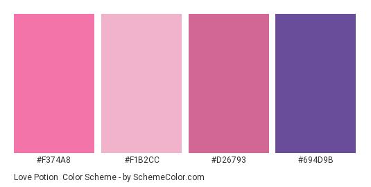 Love Potion - Color scheme palette thumbnail - #f374a8 #f1b2cc #d26793 #694d9b