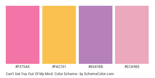 Can't get You Out Of My Mind - Color scheme palette thumbnail - #f375a8 #fac151 #b681bb #eca9be