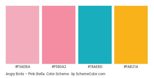 Angry Birds – Pink Stella - Color scheme palette thumbnail - #f3adba #f58da2 #18aebd #fab21a