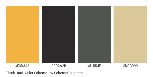 Think Hard - Color scheme palette thumbnail - #f3b342 #2d2a2b #51554f #dcc999