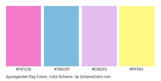 Aporagender Flag Colors - Color scheme palette thumbnail - #f47ccb #7bbcdf #e3bdf0 #fff983