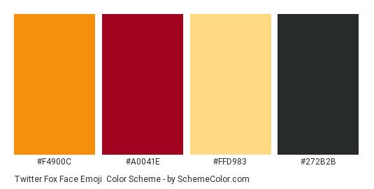 Twitter Fox Face Emoji - Color scheme palette thumbnail - #f4900c #a0041e #ffd983 #272b2b