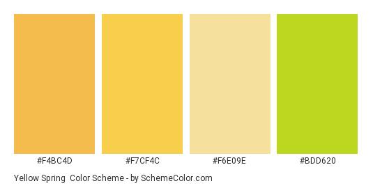 Yellow Spring - Color scheme palette thumbnail - #f4bc4d #f7cf4c #f6e09e #bdd620
