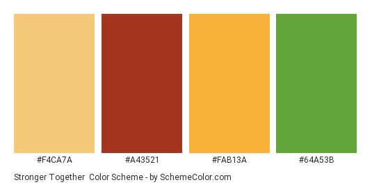 Stronger Together - Color scheme palette thumbnail - #f4ca7a #a43521 #fab13a #64a53b