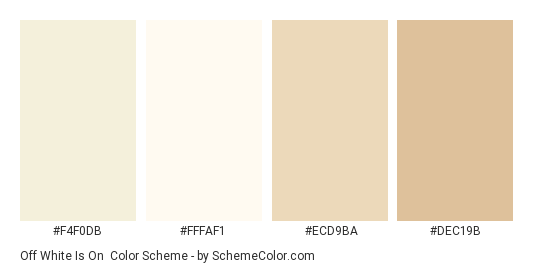 Off White Is On Color Scheme Palette Thumbnail F4f0db Fffaf1 Ecd9ba