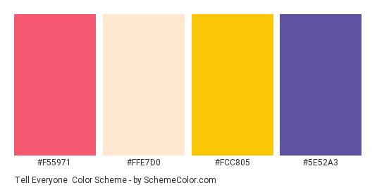 Tell Everyone - Color scheme palette thumbnail - #f55971 #ffe7d0 #fcc805 #5e52a3