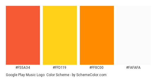 Google Play Music Logo - Color scheme palette thumbnail - #f55a34 #ffd119 #ff8c00 #fafafa