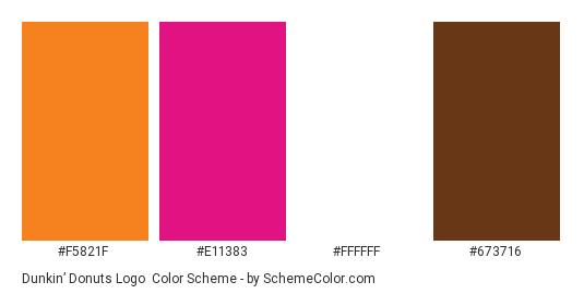 Dunkin' Donuts Logo - Color scheme palette thumbnail - #f5821f #e11383 #ffffff #673716