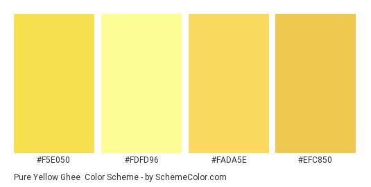 Pure Yellow Ghee - Color scheme palette thumbnail - #f5e050 #fdfd96 #fada5e #efc850