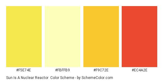 Sun Is A Nuclear Reactor - Color scheme palette thumbnail - #f5e74e #fbffb9 #f9c72e #ec4a2e