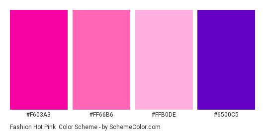 Fashion Hot Pink Color Scheme Palette Thumbnail F603a3 Ff66b6 Ffb0de
