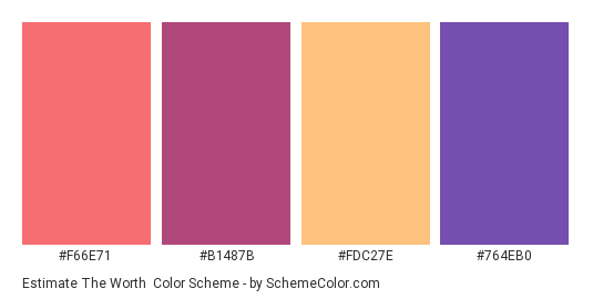 Estimate the Worth - Color scheme palette thumbnail - #f66e71 #b1487b #fdc27e #764eb0