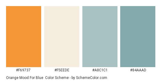 Orange Mood for Blue - Color scheme palette thumbnail - #f69737 #f5eede #a8c1c1 #84aaad