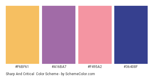 Sharp and Critical - Color scheme palette thumbnail - #f6bf61 #a16ba7 #f495a2 #36408f