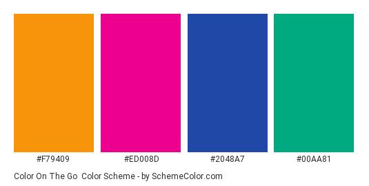 Color On The Go - Color scheme palette thumbnail - #f79409 #ed008d #2048a7 #00aa81