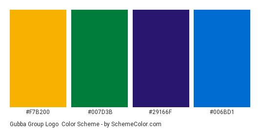 Gubba Group Logo - Color scheme palette thumbnail - #f7b200 #007d3b #29166f #006bd1