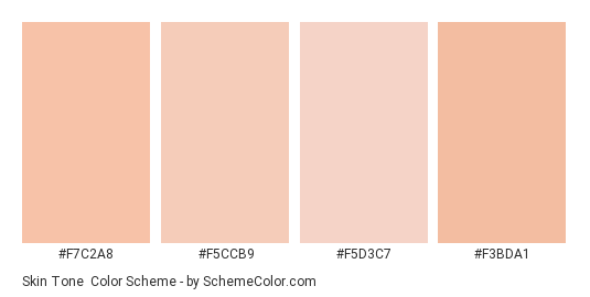 Skin Tone - Color scheme palette thumbnail - #f7c2a8 #f5ccb9 #f5d3c7 #f3bda1