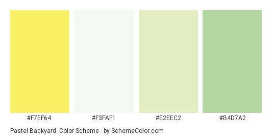 Pastel Backyard Color Scheme Palette Thumbnail F7ef64 F3faf1 E2eec2 B4d7a2