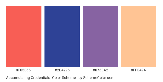 Accumulating Credentials - Color scheme palette thumbnail - #f85e55 #2e4296 #8763a2 #ffc494