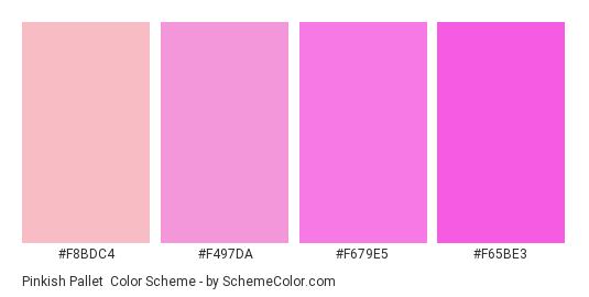 Pinkish Pallet - Color scheme palette thumbnail - #f8bdc4 #f497da #f679e5 #f65be3