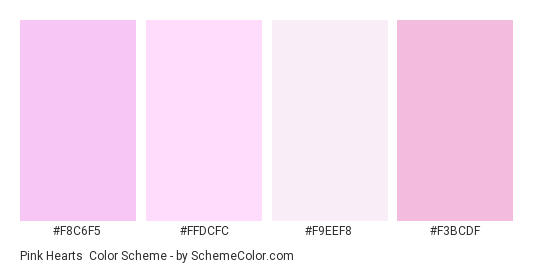 Pink Hearts - Color scheme palette thumbnail - #f8c6f5 #ffdcfc #f9eef8 #f3bcdf