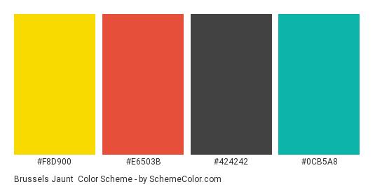 Brussels Jaunt - Color scheme palette thumbnail - #f8d900 #e6503b #424242 #0cb5a8