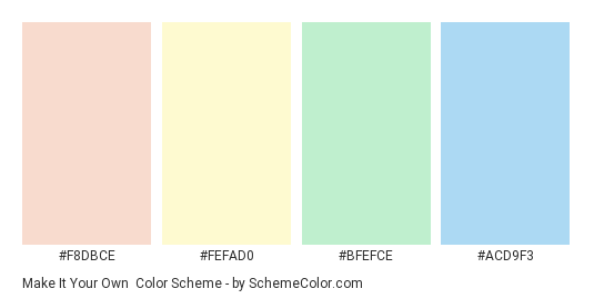 Make it Your Own - Color scheme palette thumbnail - #f8dbce #fefad0 #bfefce #acd9f3