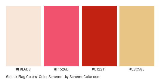 Girlflux Flag Colors - Color scheme palette thumbnail - #f8e6d8 #f1526d #c12211 #e8c585