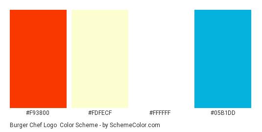 Burger Chef Logo - Color scheme palette thumbnail - #f93800 #fdfecf #ffffff #05b1dd