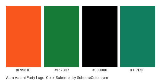 Aam Aadmi Party Logo - Color scheme palette thumbnail - #f9561d #167b37 #000000 #117e5f