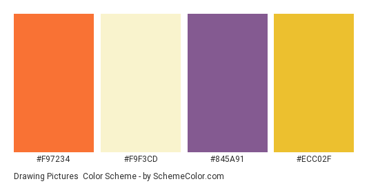 Drawing Pictures - Color scheme palette thumbnail - #f97234 #f9f3cd #845a91 #ecc02f