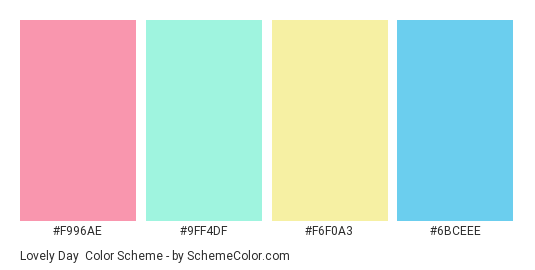 Lovely Day - Color scheme palette thumbnail - #f996ae #9ff4df #f6f0a3 #6bceee